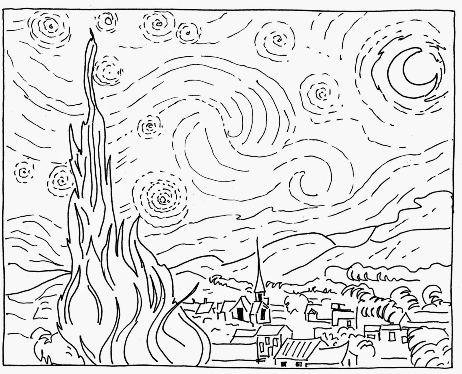 Vincent Van Gogh Starry Night Coloring Sketch Coloring Page